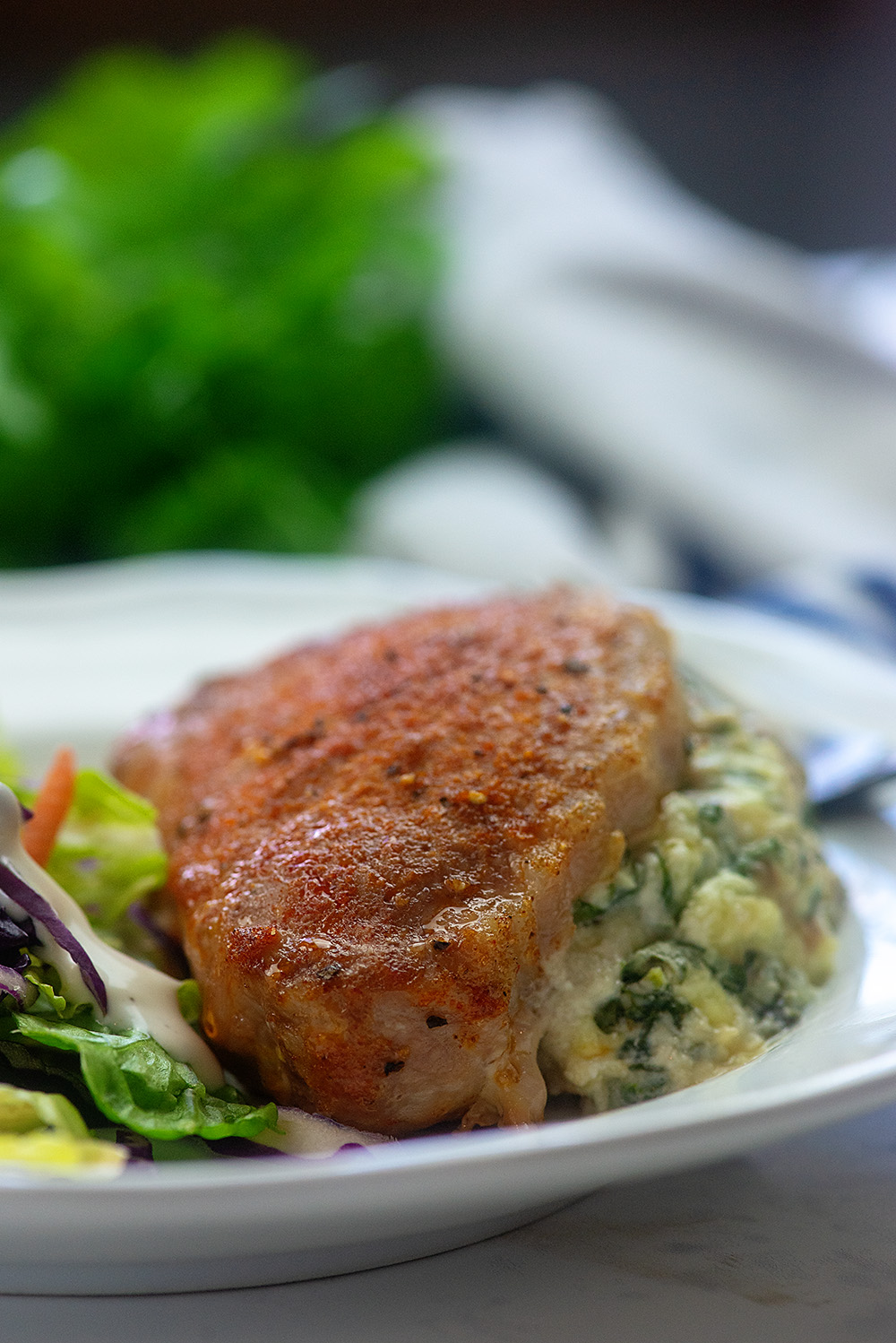 Low Carb Spinach Stuffed Pork Chops